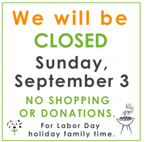 Closed Sept. 3!